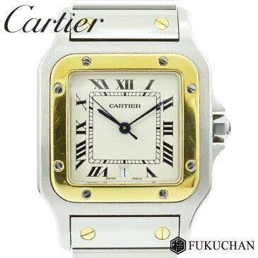 【Cartier/カルティエ】サントスガルベLM メンズ ウォッチ 白文字盤 SS×K18YG/AT W20011C4 【中古】≪送料無料≫