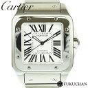【Cartier/カルティエ】サントス100LM メンズ ウォッチ ホワイト文字盤 SS×AT/W2 ...