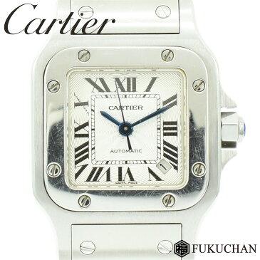 【Cartier/カルティエ】サントスガルベSM シルバー ギョーシェ文字盤 レディース ウォッチ SS×AT/W20054D6 【中古】≪送料無料≫
