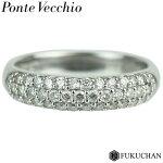 【PonteVecchio/ポンテヴェキオ】パヴェダイヤリングK18WG×ダイヤモンド/0.4ct【中古】≪送料無料≫