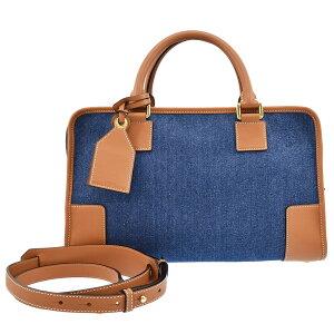 LOEWE罗意威(Loewe)手袋Amazona 36 2way单肩包牛仔布x小牛皮蓝色x棕褐色x金色硬件352.28女士AMAZONA [二手] [免费送货]