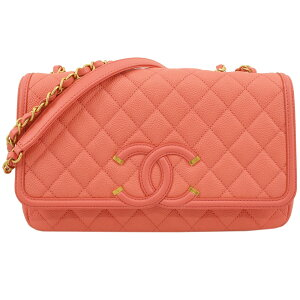 CHANEL Caviar Skin CC Filigree Chain Shoulder Bag Pink x Antique Gold Hardware A93341 Ladies [Used] [Free Shipping]