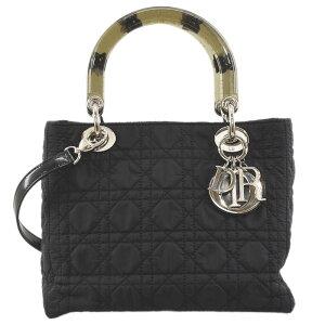 克里斯汀·迪奥女士迪奥2way手提包挎包尼龙黑色x银色金属配件女士[使用] [免费送货]