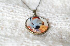 ペットのお写真と誕生月・命月のスワロフスキーが入ったオーダーペンダント「夢の木」