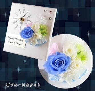 《父の日》プリザーブドフラワークロック名入れスクエア/3輪5色から選択花時計,還暦祝位,結婚祝い,退職祝いブリザーブドフラワー送料無料