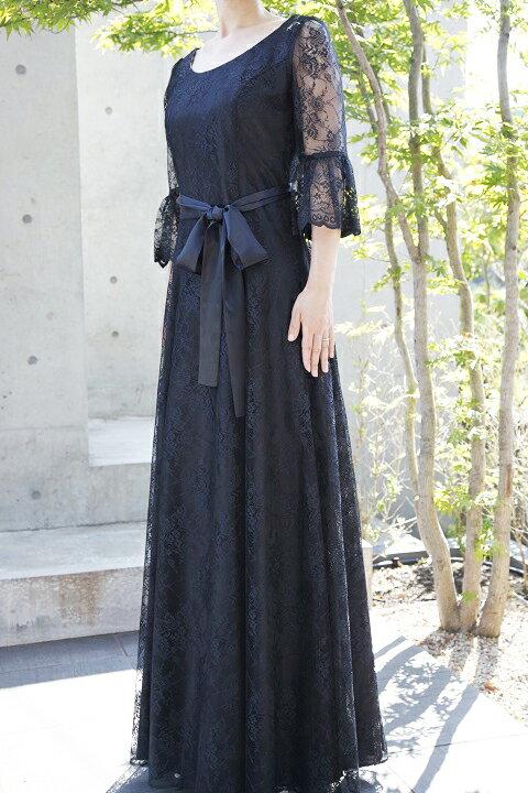 5a9b261a79793 美·レースの袖付きフレアーロングドレス(リボン付き) ブラック 黒 7号 9号 11号 13号 美しい総レースのロングドレスはワンランク上の気品!結婚式の留袖代わりに新郎  ...