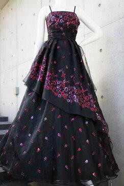 【数量限定】イタリア製オーガンジーで仕立てるふわひら羽根とオーバースカート付き風フレアーロングドレス ブラック 黒 S号 M号 L号 【製作期間約1ヶ月】