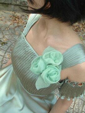 しずく付きのばらの花コサージュ ピンク グリーン 緑 ブルー 水色 青 ※ご注文またはご入金確認後1〜8営業日後出荷