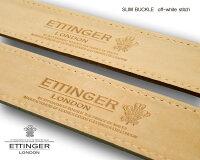 【ETTINGER/エッティンガー】SLIMBUCKLEBELTオフホワイトステッチ(幅広タイプ)ブラック(ダブルループ)
