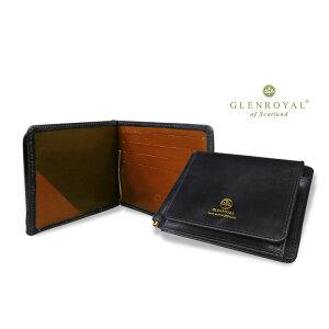 Glenroyal/GLENROYAL ● MONEY CLIP WITH POCKET Bi-fold leather wallet (money clip wallet/bridle) 03-6164 ● 005 [DARK BLUE × OXFORD TAN] (Completely bespoke product) [Easy gift _ packaging]