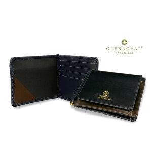 Glenroyal/GLENROYAL ● MONEY CLIP WITH POCKET Bi-fold leather wallet (money clip wallet/bridle) 03-6164 ● 033 [DK.BLUE × CIGAR] (completely bespoke product) [Giff easy packing]