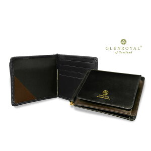 Glenroyal/GLENROYAL ● MONEY CLIP WITH POCKET Bi-fold leather wallet (money clip wallet/bridle) 03-6164 ● 037 [NEW BLACK × CIGAR] (Completely bespoke product) [Easy gift _ packaging]