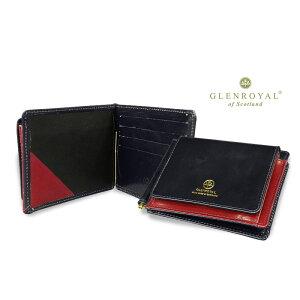 Glenroyal/GLENROYAL ● MONEY CLIP WITH POCKET Bi-fold leather wallet (money clip wallet/bridle) 03-6164 ● 038 [DK.BLUE × BORDEAUX] (completely bespoke product) [Giff easy packing]