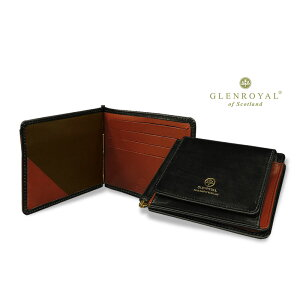 Glenroyal/GLENROYAL ● MONEY CLIP WITH POCKET Bi-fold leather wallet (money clip wallet/bridle) 03-6164 ● 047 [NEW BLACK × OXFORD TAN] (completely bespoke product) [easy gift _ packaging]