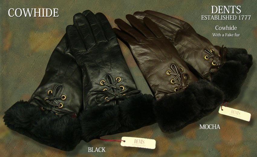 ■TRAD SALE!DENTS手袋 / デンツ手袋 ( LADY'S ) COWHIDE / カウハイド ( ファー付き ) 7-2086 【楽ギフ_包装】