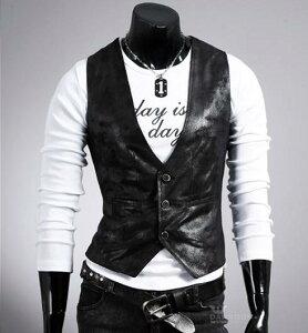 メンズ 革ベスト レザーベスト カジュアル 男性 送料無料 袖なし トップス ビジネス 紳士 おしゃれ