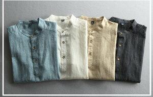 シャツ 半袖 立て襟 亜麻シャツ メンズ ワイシャツ Yシャツ ビジネス