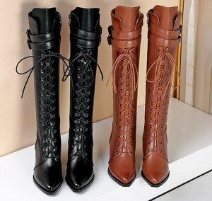 レザーロングブーツ 牛革ブーツ 編み上げ ブーティ レディース 裏起毛 美脚ニーハイブーツ ボア ショートブーツ 冬靴 秋冬 シューズ ロング丈 フィット boots 女性