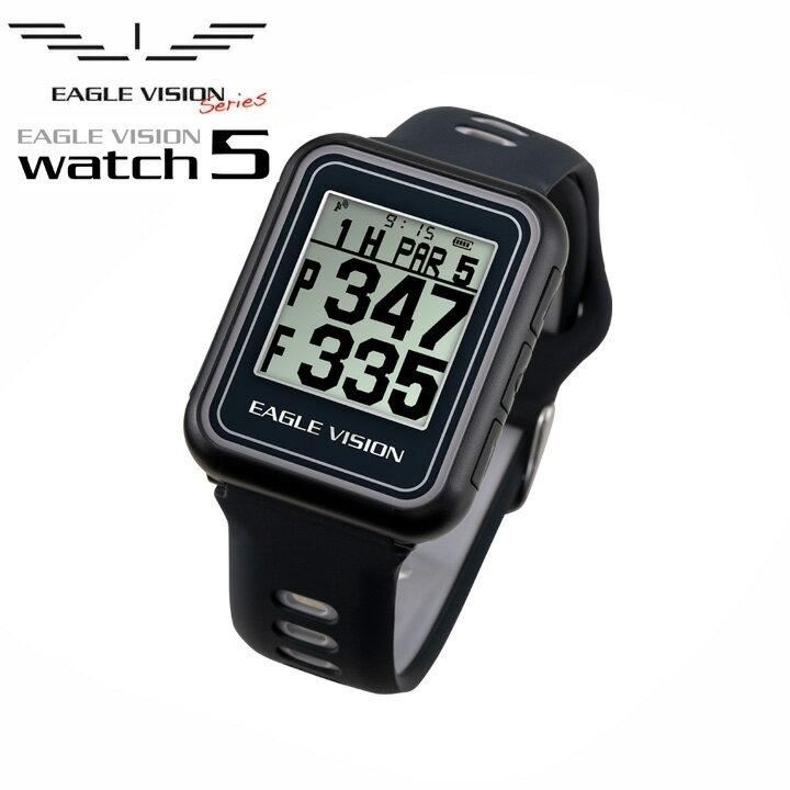 【正規販売店】EAGLE VISION イーグルビジョン WATCH5 ウォッチ5 ブラック 腕時計タイプ 高精度GPSゴルフナビ EV-019 BLACK 高低差表示 防水仕様 時計機能 朝日ゴルフ