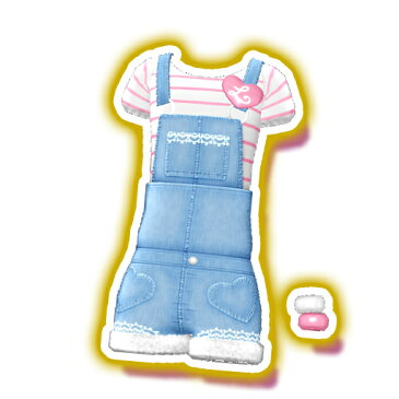 プリパラ【マイチケ】★T2-056 ボーダーTシャツサロペットワンピ N
