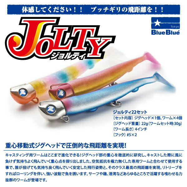 【ルアー】BlueBlueブルーブルーJOLTYジョルティ22セットジグヘッドワーム