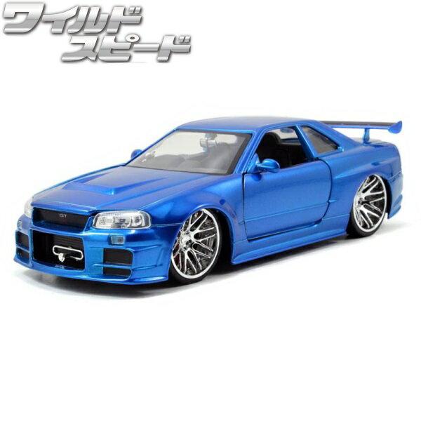 車, ミニカー・トイカー JADATOYS 124 R34 BRIANS 2002 NISSAN SKYLINE GTR R34 BLUE 4MAX