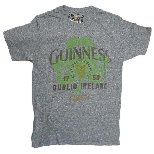 Tシャツ GUINNESS DUBLIN IRELAND CLOVER T372-M ギネスtシャツ アメリカメンズMサイズ メンズ半袖Tシャツ UネックTシャツ アメカジ カジュアル ギネスビールTシャツ
