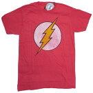 TシャツTHEFRASHDISTRESSEDFADEDLOGOT378-MフラッシュtシャツアメリカメンズMサイズメンズ半袖TシャツUネックTシャツアメカジカジュアルレッドDCコミック