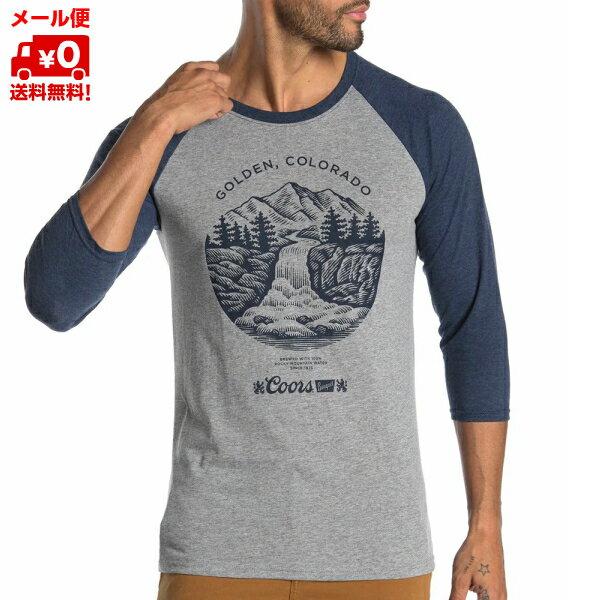 メンズTシャツクアーズビールグレー/ブルーアメリカLサイズロングTシャツCOORSGOLDENCOLORADORAGLAN クア