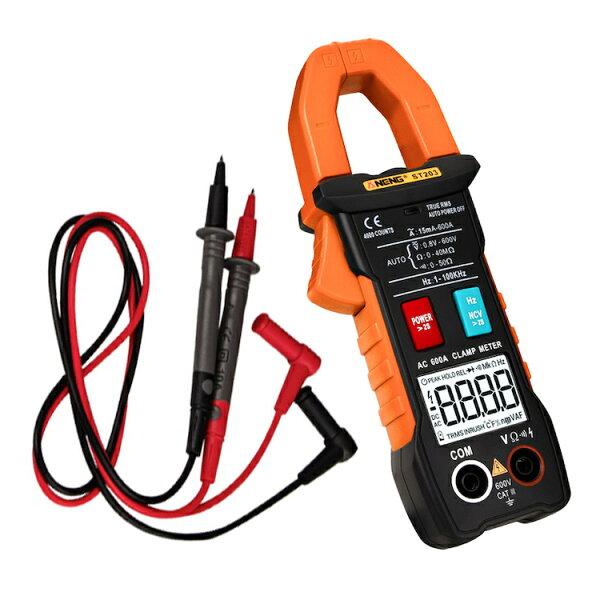 デジタルクランプメーターオートレンジ式非接触電流/電圧計AC/DC両用マルチメーターブザー警告自動極性表示LEDライト付抵抗/導