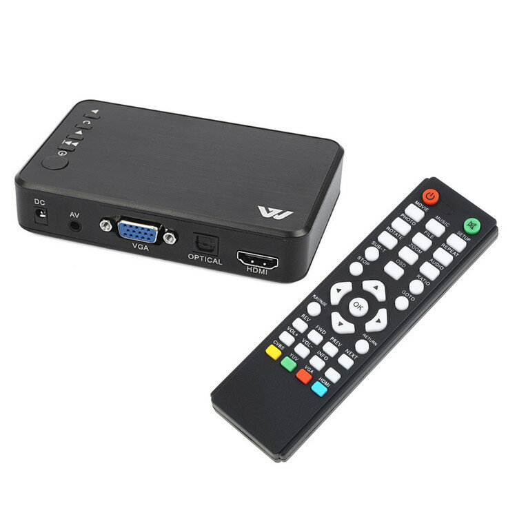 【ポイント5倍 店内全品 4/26 1:59まで】マルチメディアプレーヤー USB/SDカード対応 リモコン付 AV/HDMI/VGA出力可 ミニサイズ フルHD画質 MP400
