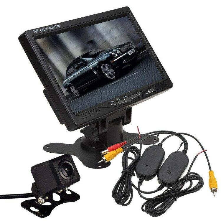 ワイヤレスバックカメラセット 7インチモニター+四角小型バックカメラ+無線転送キット3点セット ガイドライン正像鏡像切替可 映像2チャンネル 12V専 OMT70A206CWBT画像