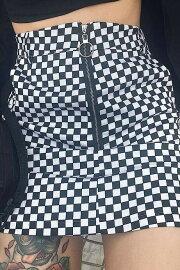 ヴィンテージチェックフラッグ柄レトロ風Aラインショートスカート夏原宿・ストリート系ボトムスレディースkr042sk