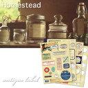 【Homestead】 ホームステッド アンティークラベル・4シートセット ナチュラル雑貨・シール アクシス 。