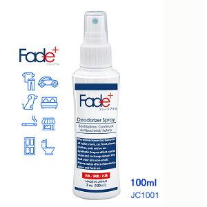 Fade+(フェードプラス)消臭スプレーJC1001100mlFade+は日本で開発された人工酵素を使用した消臭・除菌・抗菌剤です。いい香りはそのままに、悪臭のみに力を発揮します。