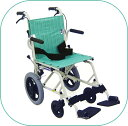 車椅子/簡易車いす/旅行用旅ぐるまシリーズKA6 グリーンストライプコンパクトに折りたたみ旅行や移動が...