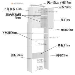 ランドリーラック天井突っ張り式の洗濯機ラックサニタリーラックランドリー収納つっぱり洗濯機ラック80型【日本製】