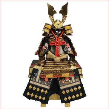 【ポイント増量中!最大32倍】 鎧飾り 鎧平飾り 五月人形 五月飾り12号 厚金本革金箔小桜茶威鎧 龍玉作