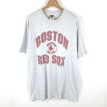 【古着】 BOSTON RED SOX ボストンレッドソックス ロゴプリントTシャツ グレー系 メンズXL以上 【中古】 n002381
