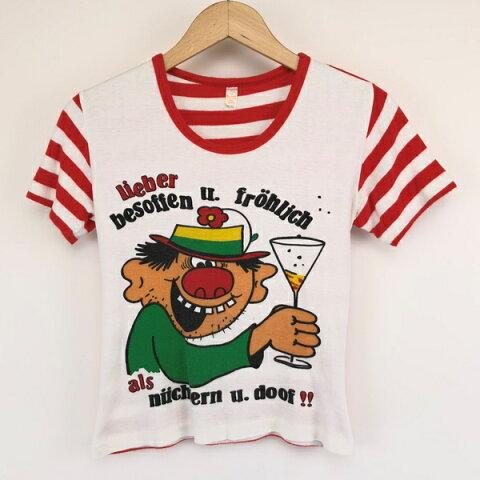 【古着】 ユーロプリントTシャツ レッド系 レディースXS 【中古】 n003480