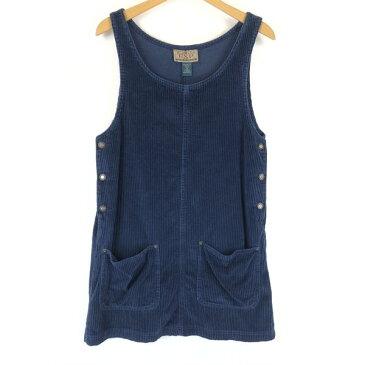 EXP ジャンパースカート サイドボタン コーデュロイ素材 無地 スリーブレス ミニ丈 ネイビー系 レディースM n011804