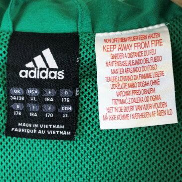 【古着】 adidas アディダス ナイロンジャケット メッシュ裏地 切替えデザイン ワンポイント刺繍 グリーン系 メンズXL n012166