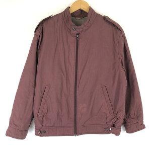 【古着】 中綿ジャケット ブルゾンタイプ ヴィンテージ ワイン系 メンズM 【中古】 n014382