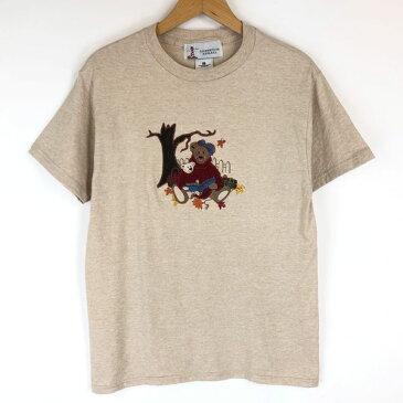 LIGHT HOUSE APPAREL キャラクターTシャツ 刺繍・ワッペン クマちゃん ピクニック 大きいサイズ ベージュ系 メンズM