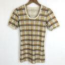 【古着】 総柄Tシャツ チェック柄 ヴィンテージ イエロー系 レディースL 【中古】 n019799