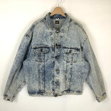 【古着】 Lee リー ケミカルウォッシュ デニムジャケット 大きいサイズ 90年代 ブルー系 メンズXL 【中古】 n027789