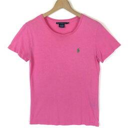 【古着】 RALPH LAUREN ラルフローレン 無地Tシャツ ワンポイント刺繍 ピンク系 レディースM 【中古】 n030793