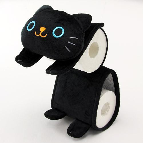 ねこのしっぽの物語 ネコのロールペーパーホルダー 黒猫 (トイレットペーパーホルダー 黒猫)[宅配便配送(メール便とネコポスは不可)]