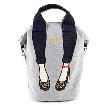 【ミス サパト/mis zapatos】スキニーパンツ柄 2WAYバッグ(大きめリュック/縦型トートバッグ) グレー(ヒョウ柄/パンプス/レディースバッグ)[宅配便配送(メール便とネコポスは不可)]