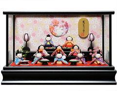 【雛人形】【雛ケース】ミニ雛十人漆黒塗ケース:伏見屋監修【ひなケース】【ひな人形】